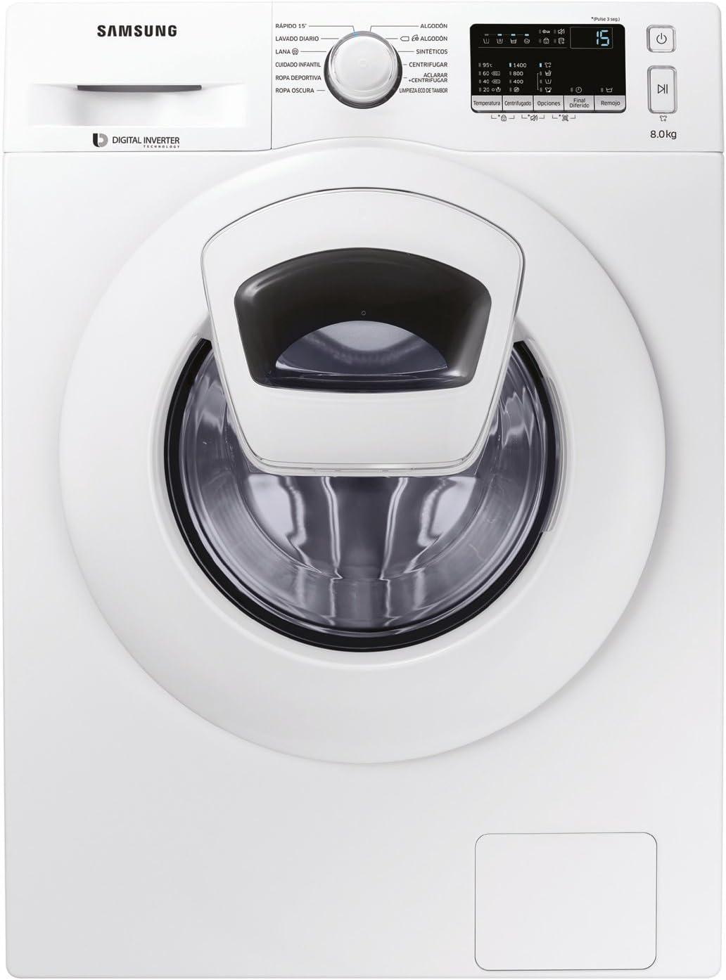 Samsung WW80K4430YW/EC Independiente Carga frontal 8kg 1400RPM A+++ Blanco - Lavadora (Independiente, Carga frontal, Blanco, Botones, Giratorio, Tocar, Izquierda, LED)