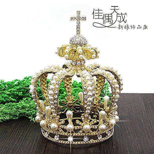 Pearl Cross Ornament (Quantity 1x queen Crown Tiara Party Wedding Headband Women Bridal Princess Birthday Girl Gift bride _European_palace_retro_cross_ Rhinestone pearl _high-floor_ Ornaments)