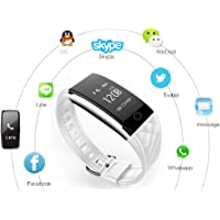 Fitness Tracker IP67 Waterproof Bluetooth Pedometer Heart Rate Blood Pressure Smart watch Wristband Sleep Tracker BLED Touch Screen Remote Camera for IOS 7.0 and above, Android 4.3 and above