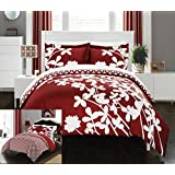 Chic Home 3 Piece Calla Lily Reversible Large Scale Floral Design Printed with Diamond Pattern Reverse Duvet Cover Set, King, Red