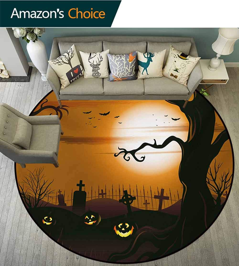 RUGSMAT Halloween Modern Machine Washable Round Bath Mat,Leafless Creepy Tree with Twiggy Branches at Night in Cemetery Graphic Drawing Non-Slip Soft Floor Mat Home Decor,Diameter-71 Inch by RUGSMAT (Image #1)
