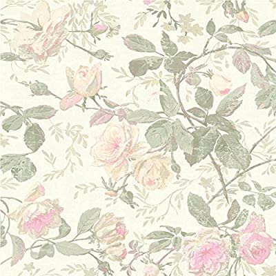York Wallcoverings SH5500 Vintage Luxe Floral Wallpaper, Pearlescent, Green, Pink, Beige, Light Taupe