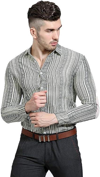 Uiophjkl Camisas para Hombres Personalidad Étnica Agujero del Viento Agujeros Hacer Camisa de Manga Larga Ocasional Solapa de los Hombres Camisa de Manga Larga (Color : Black Strip, tamaño : XXL): Amazon.es: