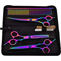 Pet Grooming Scissors Set Kits,Colorful Professional Hairdressing Haircut Salon Shear Hair Thinning Sharp Blade Dog Grooming Scissors with Round Tip Top for Dog Cat Face,Ear,Nose & Paw