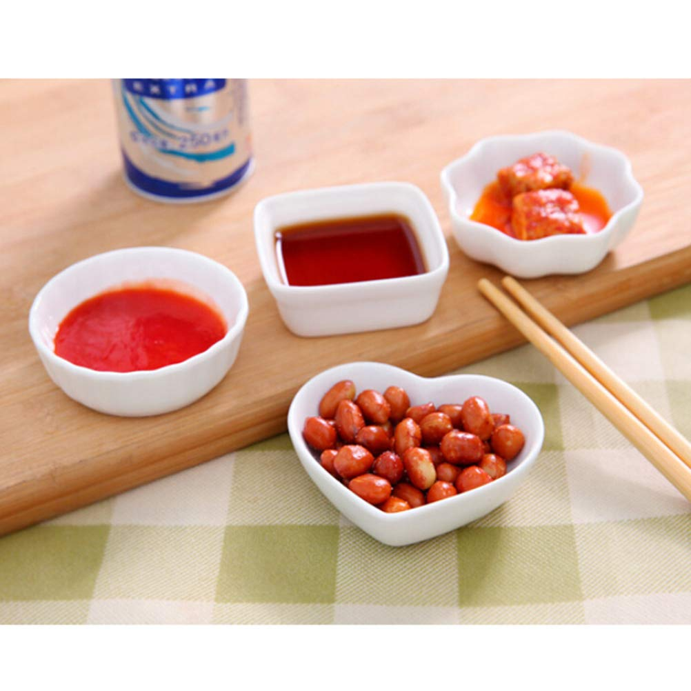 Amazon.com | 2PCS White Ceramic Dishes Japanese Style Porcelain Dipping Dish Kitchen Seasoning Sauce Vinegar Plates (Square): Side Dishes