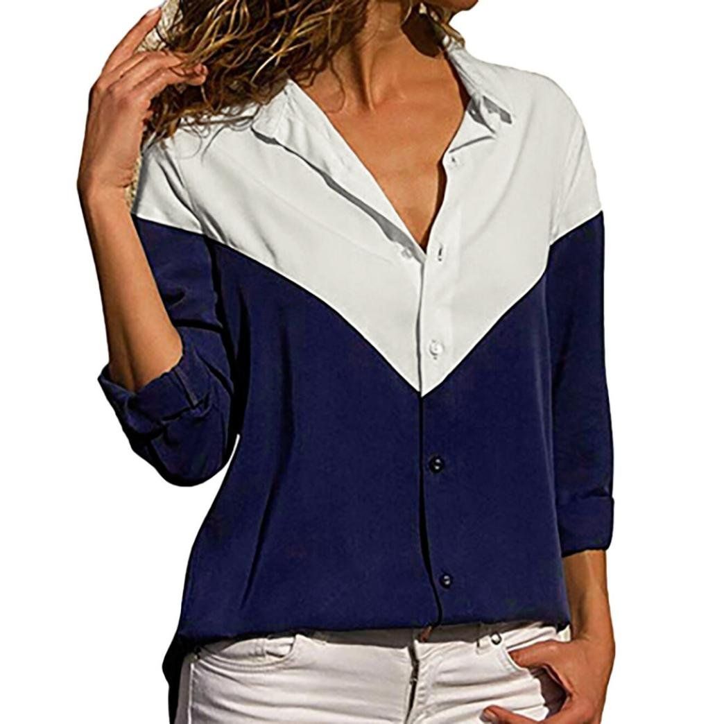 Womens V Neck Button up Color Block Stripes Blouse Casual Tops Long Sleeve Shirt (S, Navy)