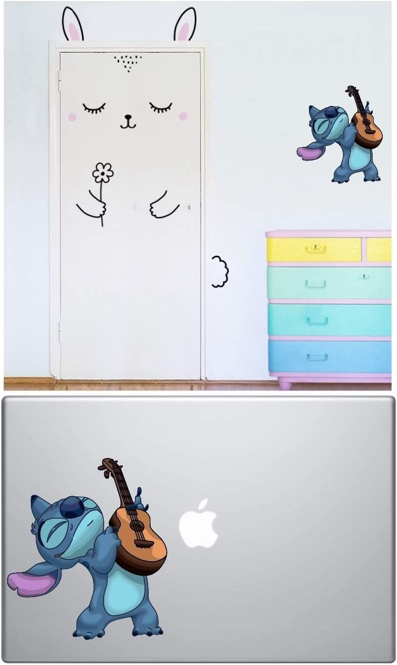Lilo and Stitch Decals - Stitch Stickers - Stitch Guitar Dancing MacBook Sticker for Cars/Laptops, Walls Decor by A-B Traders