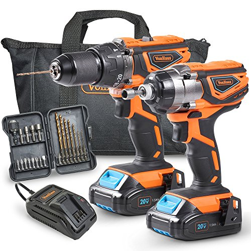 VonHaus 20V Cordless Drill Driver Combo Kit with 2 Batteries (1.5Ah), Charger Kit, Carry Case and 21 Piece Accessory Set (Power Tool Accessory Set)