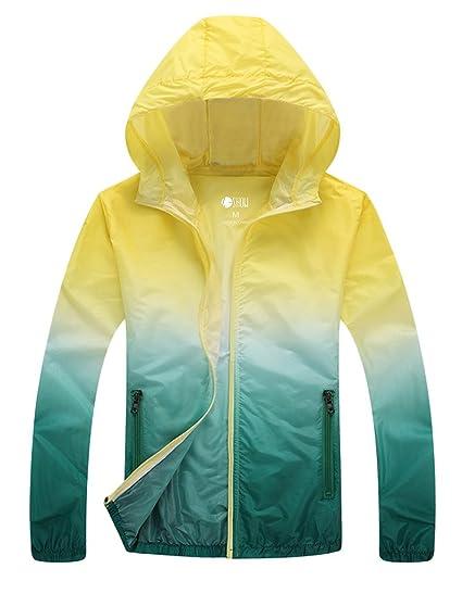 zshow Mujer Super chaqueta ligera secado rápido rompevientos UV proteger abrigo, Mujer, color Yellow Green, tamaño X-Large: Amazon.es: Ropa y accesorios