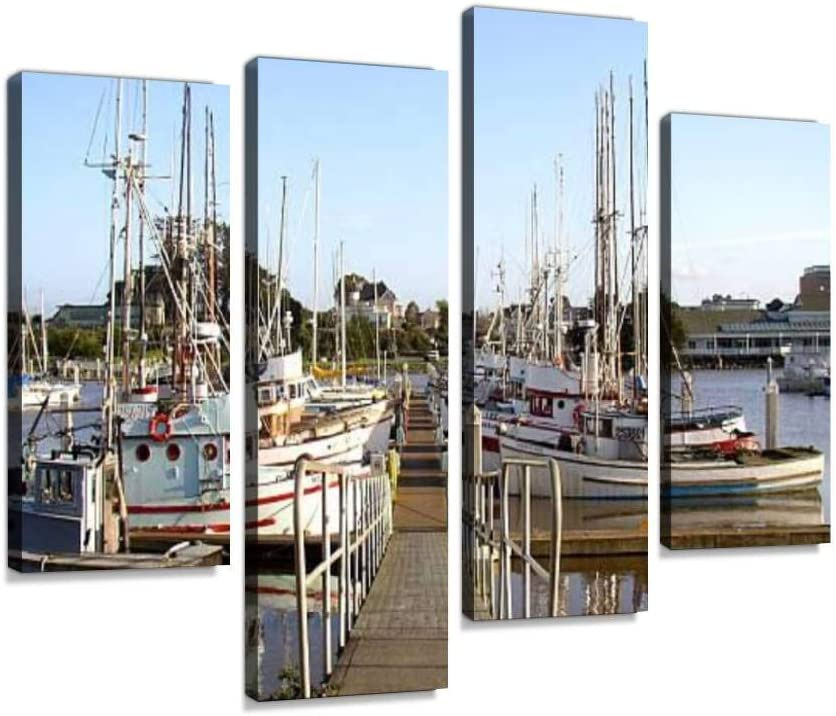 YKing1 Marina 6 Fishing Boat Stock Pictures, Royalty Free Photos Images Wall Art Painting Pictures Print On Canvas Stretched & Framed Artworks Modern Hanging Posters Home Decor 4PANEL