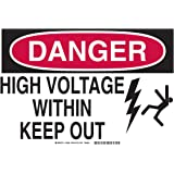 """Brady 19932 Aluminum, 7"""" X 10"""" Danger Sign Legend, """"High Voltage Within Keep Out (W/Picto)"""""""