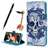 For Samsung alaxy S8 Plus Case, Printed Flip Magnetic Closure Stand Leather Wallet Case Card Slots Soft TPU Gel Inner Shock Absorption Cover with Dust Plug & Stylus Pen by YOKIRIN, Skull