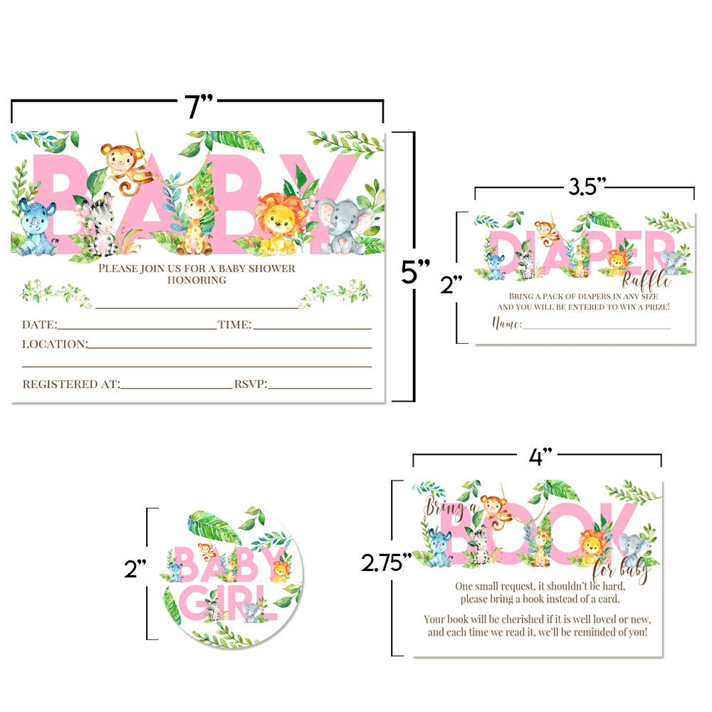 "Deluxe Watercolor Jungle Animals Baby Shower Party Bundle for Girls, Includes 20 each of 5''x7'' Fill In Invitations, Diaper Raffle Tickets, Bring a Book Cards & 2"" Thank You Favor Stickers w/ Envelopes by Amanda Creation (Image #5)"