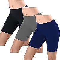 FULLSOFT Yoga Shorts for Women,3 Pack Black Bike Athletic Workout Leggings Non See-Through Slip Shorts