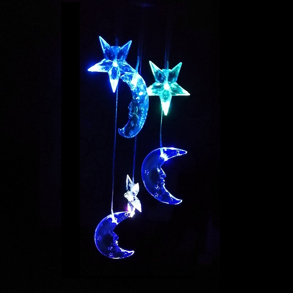 Lighten Glimmer Colorful Solar Spiral Wind Waterproof Changing Romantic Star Moon Wind Chime Light Mobile Balcony Courtyard Hanging (For Outdoor Garden) by Lighten Glimmer (Image #7)