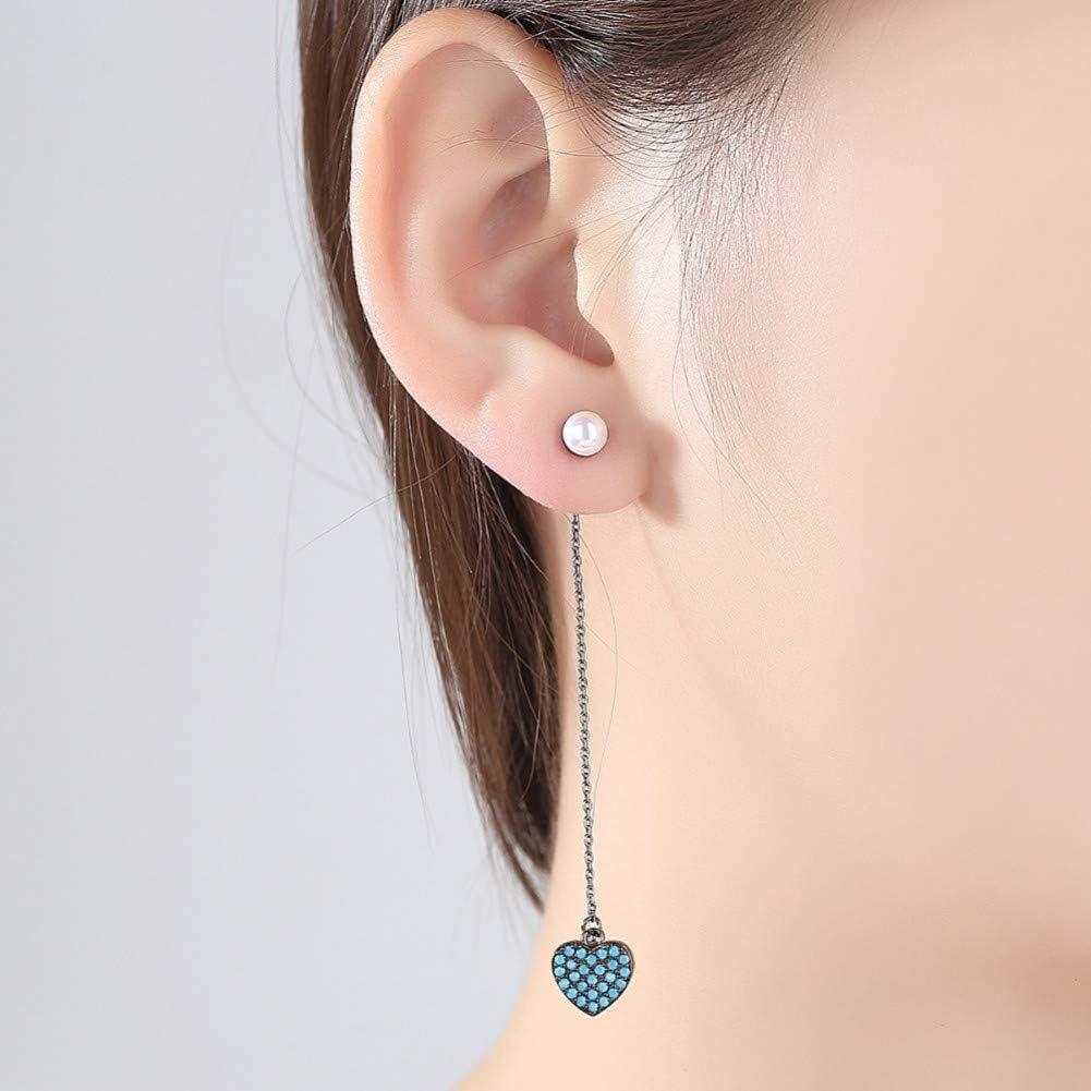 GEDASHU Pendiente Elegante Pendientes de Gota Perla de imitación Doble CaraCadena Larga Negra con Piedra Azul Corazón Colgante Joyas