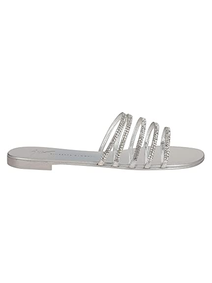 76b6c015d649 Giuseppe Zanotti Design Women s I700027001 Silver Leather Sandals ...