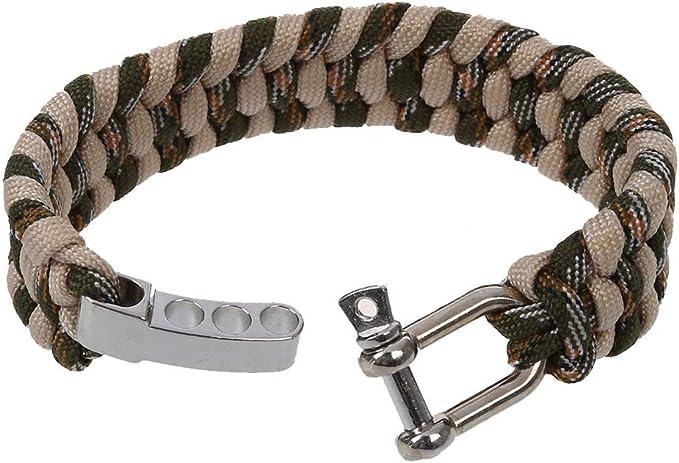 SODIAL(R) 7 Strand Supervivencia Militar pulsera de la cuerda de la armadura de la hebilla - Caqui: Amazon.es: Hogar