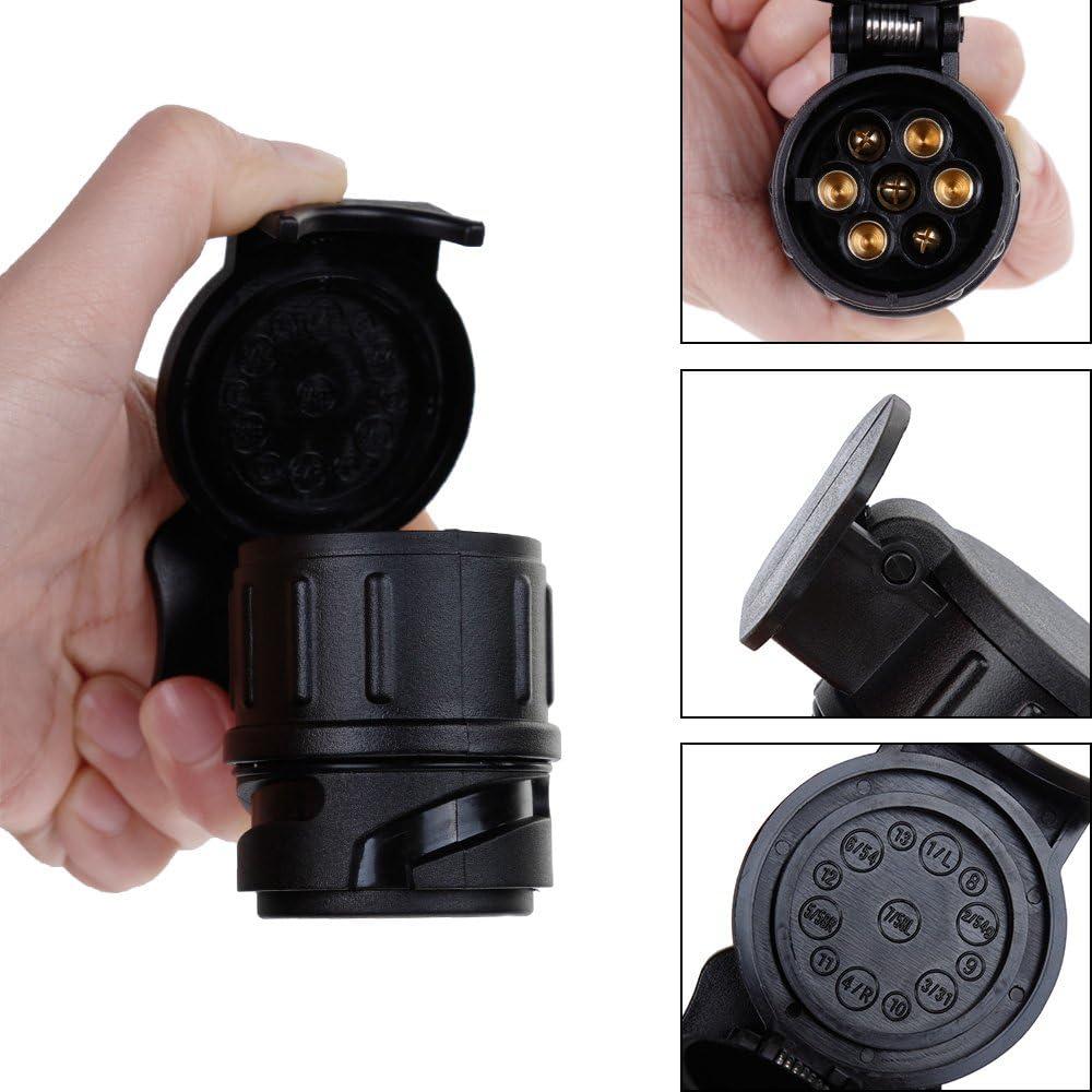 Anpro Steckdosen-Adapter f/ür Anh/ängerkupplung 13-polig auf 7 /polig