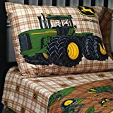 John Deere Traditional Brown Plaid Bedding, Twin Sheet Set
