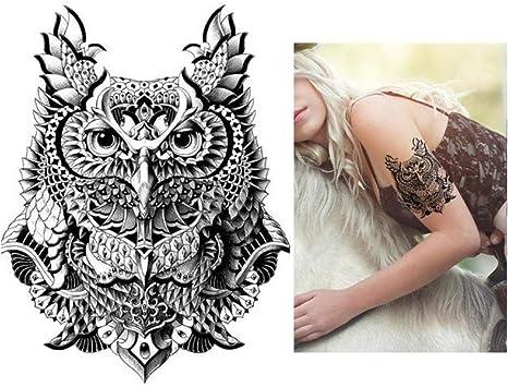 lecoolz - Tatuaje temporal, diseño de búho: Amazon.es: Belleza