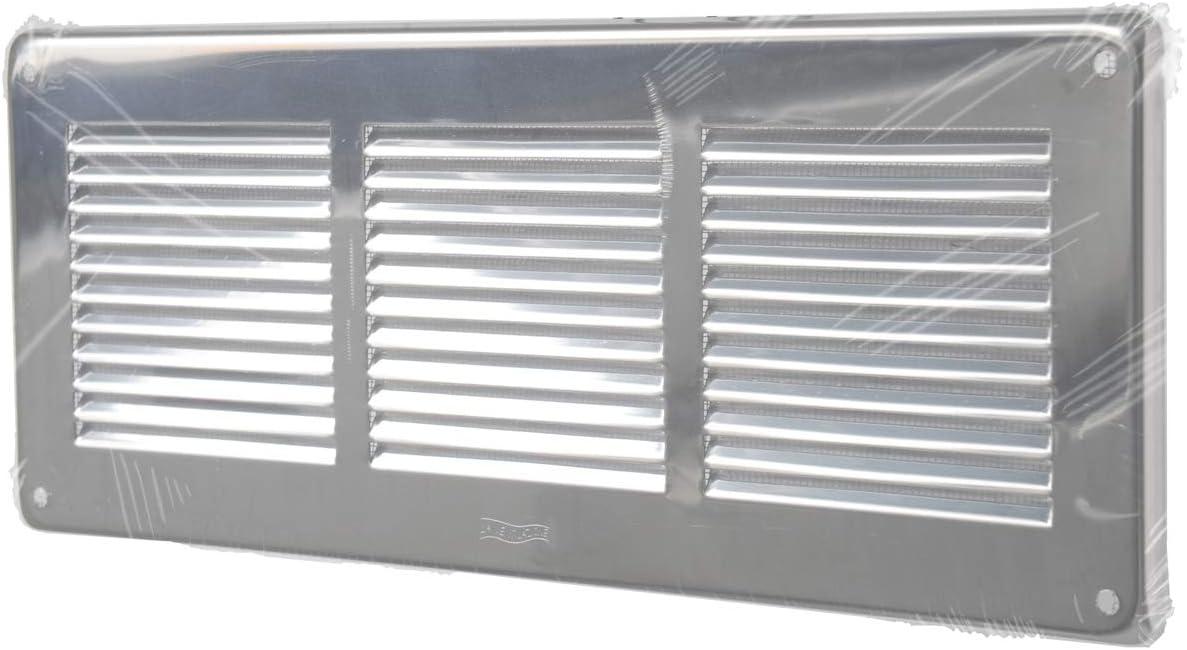dimensions 340 x 140 mm La Ventilazione GIN30R Grille de ventilation inox 430 rectangulaire /à superposer avec filet anti-insectes