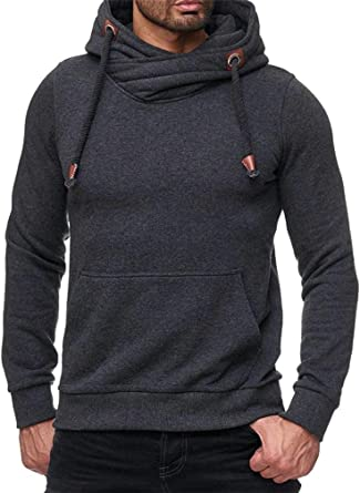Cromoncent Mens Classic Fit Color Block Drawstring Hooded Pullover Sweatshirt