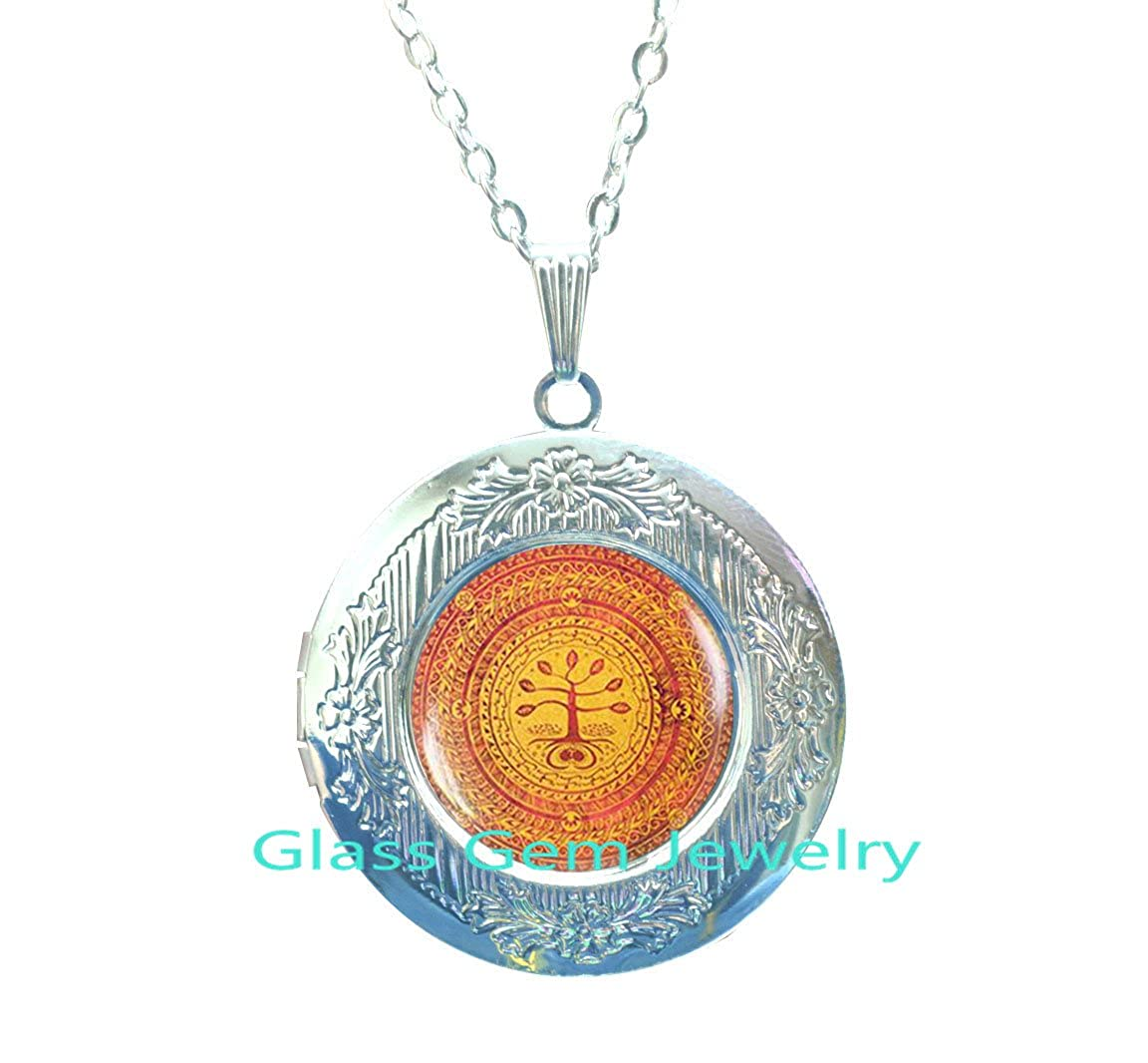 Buddhist Tree of life Locket Pendant Sacred geometry jewelry Tree of life Locket Necklace Spiritual Buddhist Locket Necklace Tibetan Buddhist Locket Pendant,Q007