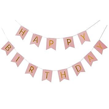 Rosa MoonLi Alles Gute zum Geburtstag Banner Unisex Geburtstag Girlande Rustikale Elegante Universal Geburtstag Dekor Partydekoration Fotografie Prop