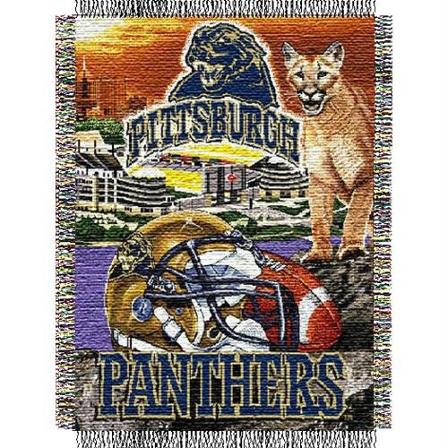 Pittsburgh Panthers Basketball Team (Officially Licensed NCAA Pittsburgh Panthers Home Field Advantage Woven Tapestry Throw Blanket, 48