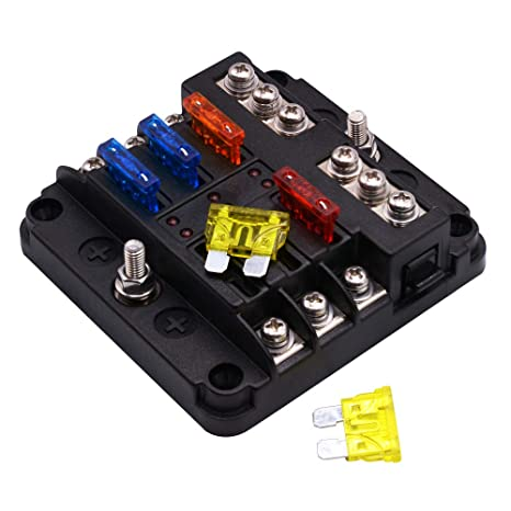 iroch 6 way fuse box holder,dc 12v 32v 100amp blade fuse box holder with led warning light kit for car boat marine trike dual independent positive Fuse Box Connector