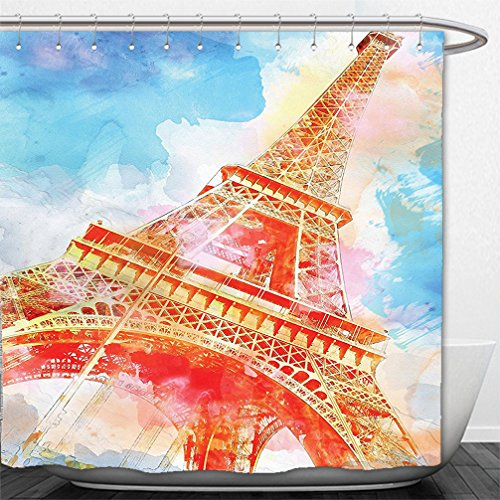 Interestlee Shower Curtain Eiffel Tower Decor Watercolor Painted Linework Eiffel Tower Landmark Colorful Illustrated Print Yellow Blue - Water Macy Tower