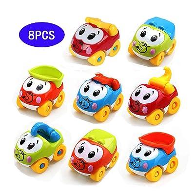 Amy&Benton Juguetes para bebГ©, 8PCS Figuras Coches VehГculos De Juguete Coches Camiones De Juguete para niГ±os y niГ±as de 1 2 3 aГ±os: Juguetes y juegos
