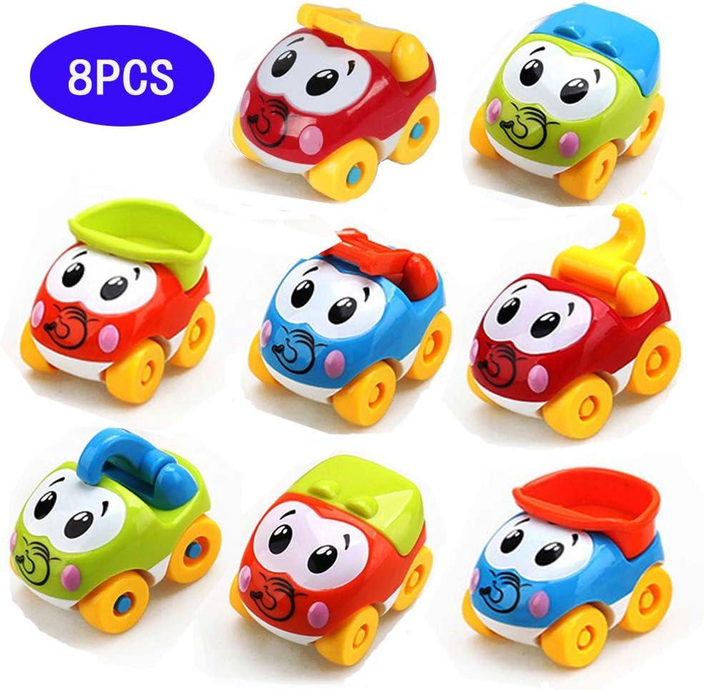Amy&Benton Juguetes para bebé, 8PCS Figuras Coches Vehículos De Juguete Coches Camiones De Juguete para niños y niñas de 1 2 3 años