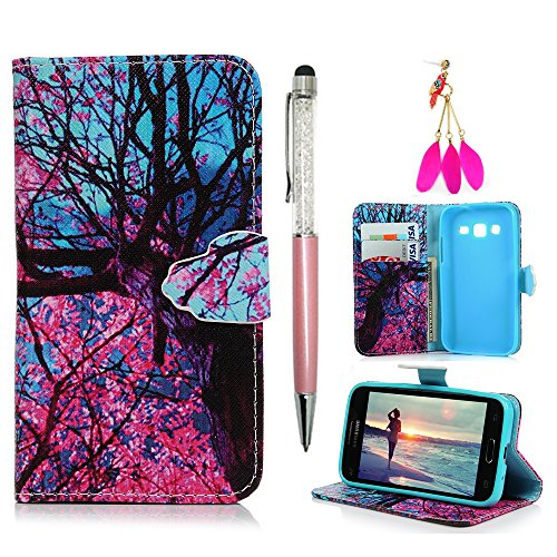 MOLLYCOOCLE Galaxy Core Prime Case, Wallet Case Purse Credit Card Slots Soft TPU Inner Bumper Premium PU Leather Ultra-Slim Thin Case Protective Cover for Samsung Galaxy Core Prime/G360 - Cherry Tree