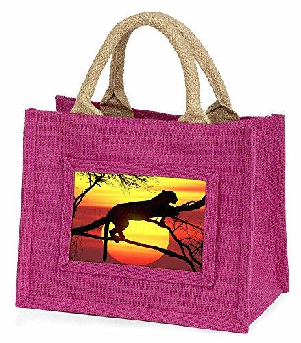 Advanta–Mini Pink Jute Tasche Leopard Little Mädchen klein Einkaufstasche Weihnachten Geschenk, Jute, pink, 25,5x 21x 2cm