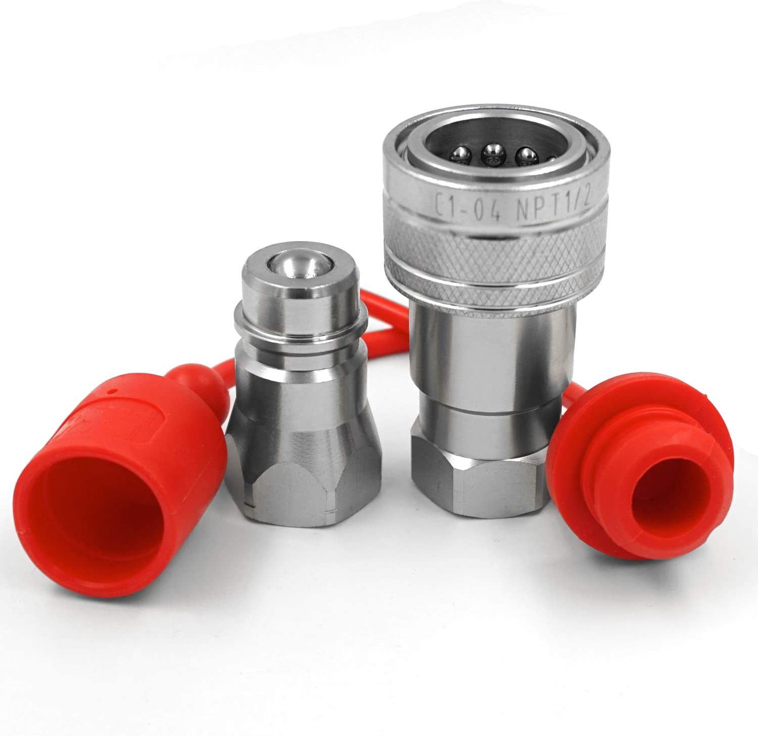 Ball Pioneer Style ISO w//Dust Caps 1//2 Ag ISO 5675 Hydraulic Quick Connect Tractor Female Coupler