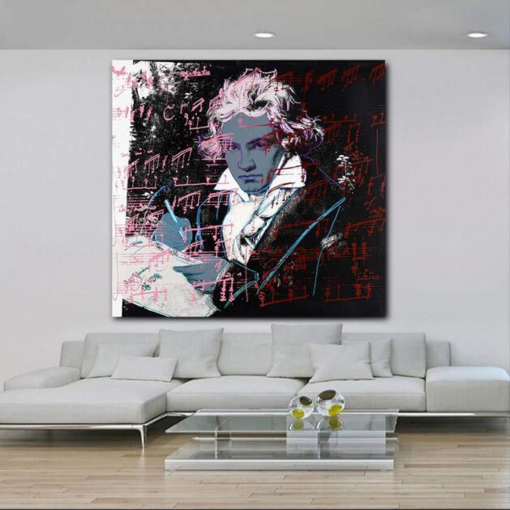 yhyxll Beethoven di Andy Warhol Immagini Moderne per la casa per Soggiorno HD Tela Pittura Camera da Letto Poster 40x40 cm