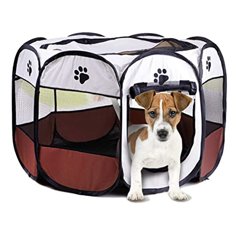 Hazelsha 8 Paneles portátil Cachorro Parque de Juegos para ...