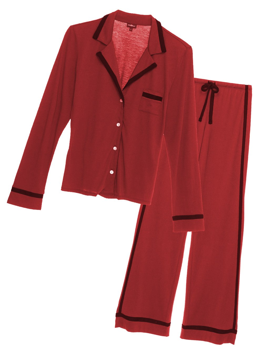 Cosabella Women's Bella Long-Sleeve Top and Pant Pajama Set, Medium, Brick Red/Black