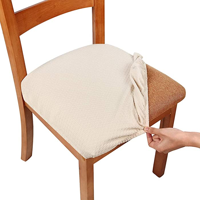 smiry Stretch Spandex Jacquard Dining Room Chair Seat Covers, Removable Washable Anti-Dust Dinning Upholstered Chair Seat Cushion Slipcovers - Set of 2, Beige