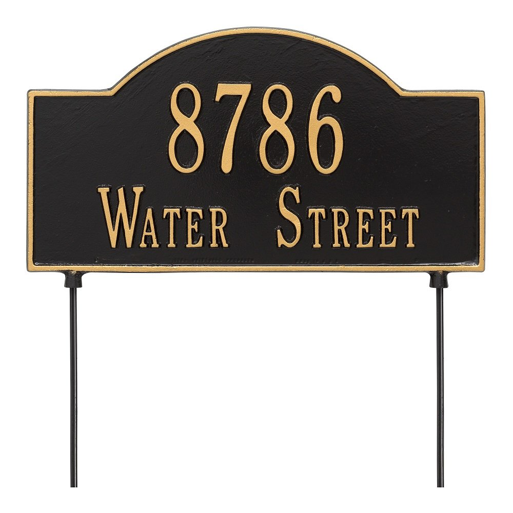 Arch Marker Two-Sided Standard Address Sign Finish: Black and Gold