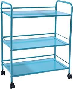 HOMEFORT 3-Tier Metal Rolling Utility Cart, 3-Shelf Storage Organizer with Wheels, Perfect for Home Office Kitchen Bathroom Organization (Teal)