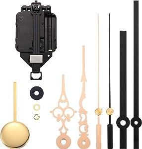 Hicarer Movimiento de Reloj de Péndulo de Cuarzo Kit de Movimiento de DIY con 2 Pares de Manecillas y Péndulo