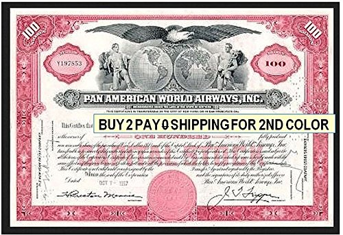 1960 RARE ORIGINAL PAN AM STOCK CERTIFICATE! BUY 2, GET 2 COLORS w NO EXTRA SHIPPING! VINTAGE U.S. AVIATION! 100 Shares Crisp About Uncirculated