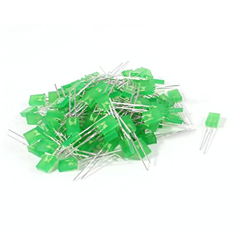 100 piezas DC 3,5 V 2 pin LED verde bombillas diodos emisores 7 mm