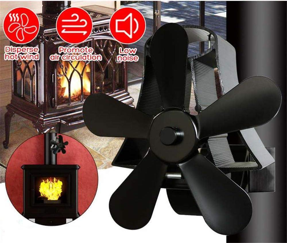 Ventilador del Horno Operado por Calor con 5 Aspas De Ventilador Sin Poder, para Chimenea, Estufas De Leña, Quemador De Troncos, Ventilador Eco - Distribución Eficiente del Calor (65 ° C - 345 ° C)