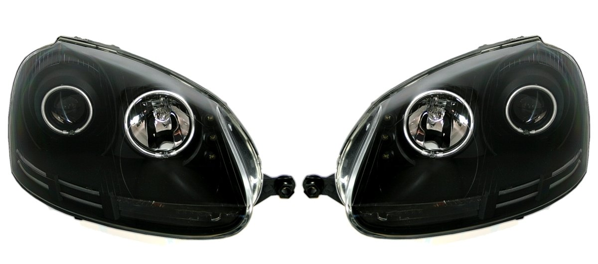 vetro trasparente colore nero Set di fari Angel Eyes CCFL
