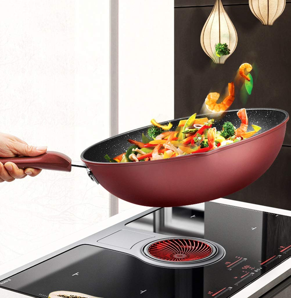 WYQSZ Wok - Non-stick multi-function household cooking pot wok exquisite and durable wok -fry pan 2365 (Design : A, Edition : With lid) by WYQSZ (Image #6)