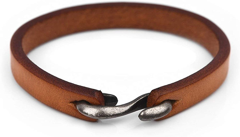 Peony red Men Bracelet Vintage Black//Brown Genuine Leather Hook Bracelet Men Wristband Bangles Male Jewelry 20cm//18.5cm,Yellow,18.5cm